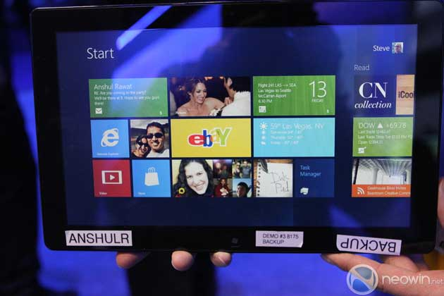Demo de la prebeta de Windows 8 en un tablet