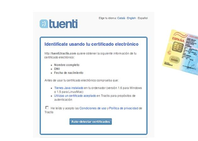 Tuenti ofrecerá soporte de DNIe para identificarte como usuario