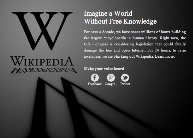 La Wikipedia, WordPress, Google y otros grandes, contra la SOPA