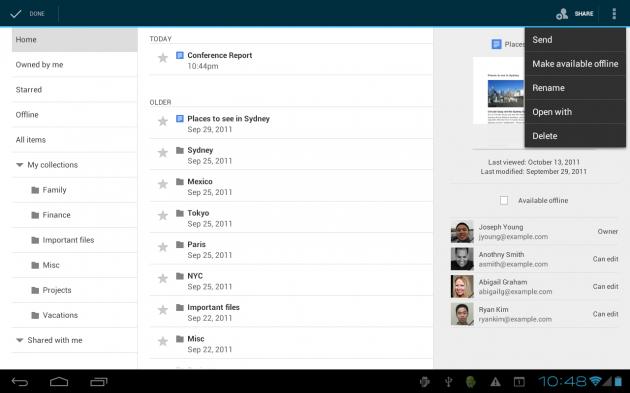Google Docs offline para Android y mejoras en la versión tablet 29