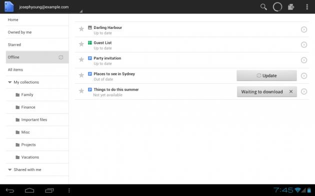 Google Docs offline para Android y mejoras en la versión tablet 30