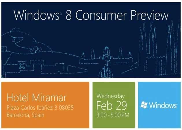 La beta de Windows 8 el 29 de febrero en el MWC de Barcelona