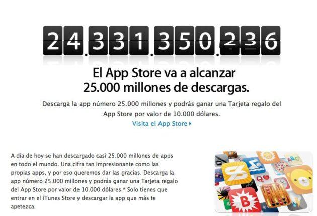 Apple premiará con 10.000 dólares la descarga 25.000 millones de App Store