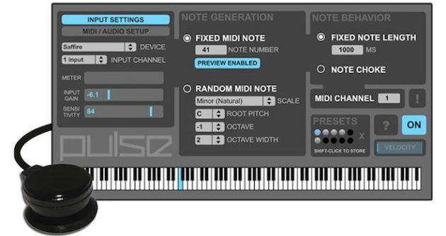 Pulse surface controller, instrumento MIDI para percusión en cualquier superficie