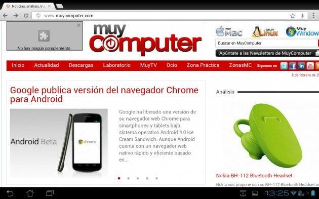 Probando Chrome para Android en el ASUS Transformer Prime
