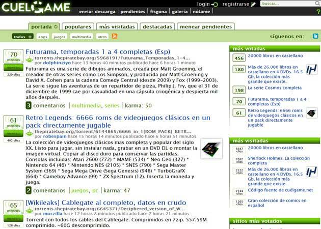 Nace Cuelgame.net, agregador social de descargas y P2P