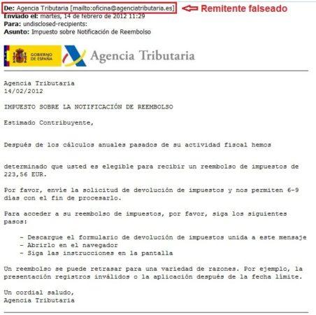Atención, fraude vía email de Agencia Tributaria