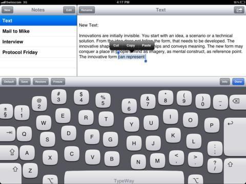 TypeWay, teclado adaptativo para iPad que se ajusta al usuario