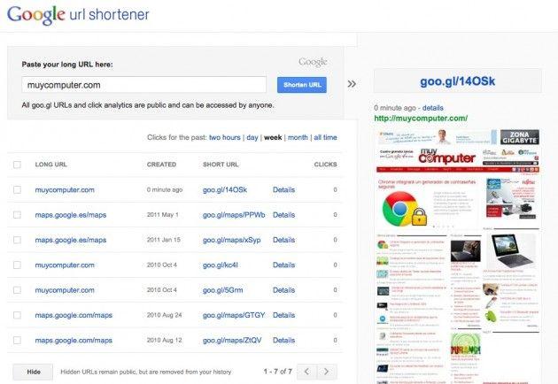 Goo.gl se integra con la nueva estética Google+ y también muestra previsualizaciones