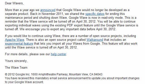 Google acabará definitivamente con Wave el 30 de abril 31