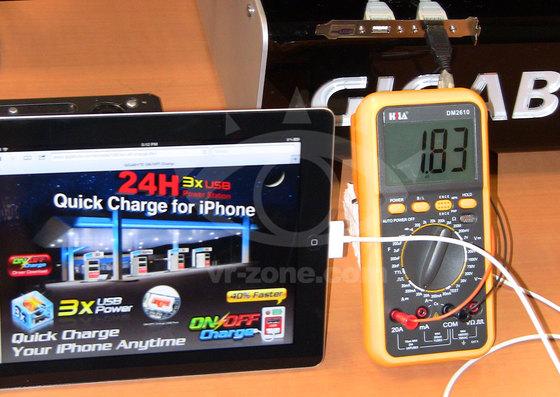 Carga rápida del nuevo iPad con Gigabyte Z77, consume cerca de 2 A