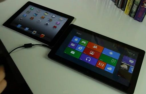 iPad 2 sobre iOS 5.0.1 vs tablet con Windows 8 Consumer Preview