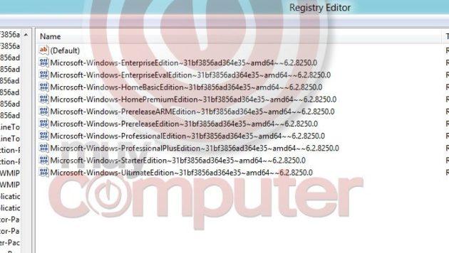 El registro de Windows 8 deja entrever que llegará en 9 versiones 30