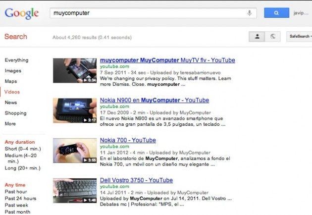 yotube videos 630x434 Google cambia la búsqueda de vídeos para promocionar YouTube