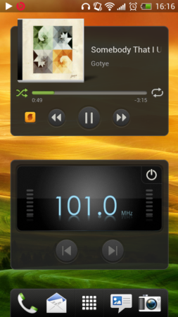 Widgets multimedia HTC One X