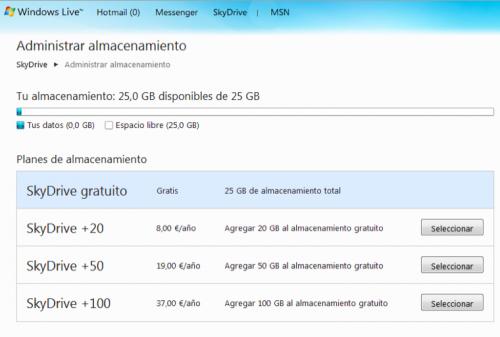 Ampliación gratuita Skydrive 25 gb