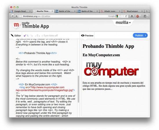 Mozilla Thimble llega como editor en tiempo real HTML en la nube
