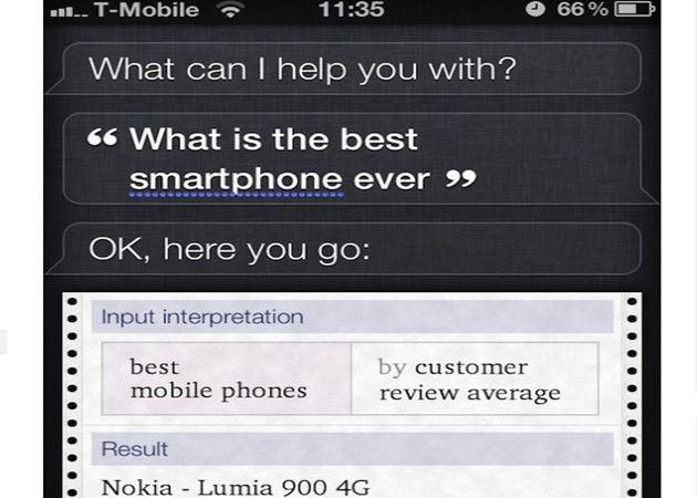 Nokia Lumia 900 es el mejor smartphone según el Siri de Apple