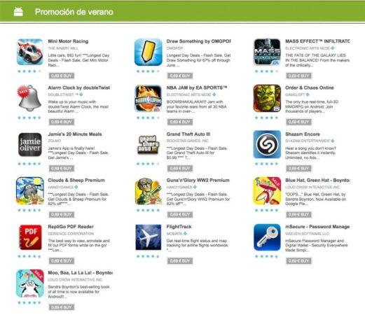 Promoción de verano en Google Play, apps a 0,69€ hoy