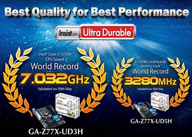 GIGABYTE bate récords con Ivy Bridge a 7 GHz y DDR3 a 3,3 GHz