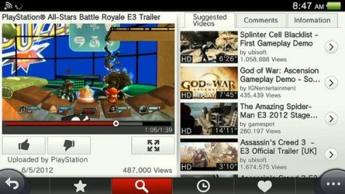 YouTube en PS Vita2