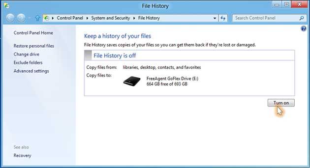 File History, un Time Machine para Windows 8 29