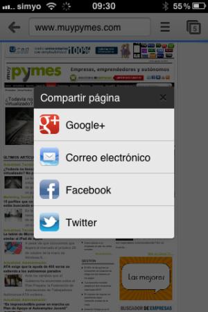 Compartir Google Chrome