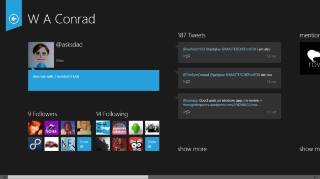 tweetro profile view 630x354 Tweetro, un cliente de Twitter diseñado para Windows 8