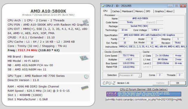 AMD APU Trinity A10-5800K a 7,3 GHz 30