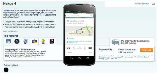 Carphone ofrece la reserva del móvil de Google, LG Nexus 4 30