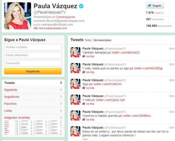 Otro desliz de un famoso en Twitter, hoy Paula Vázquez 38