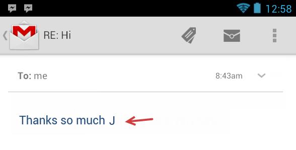 ¿Por qué aparecen J y L al final de frases en algunos emails? 29