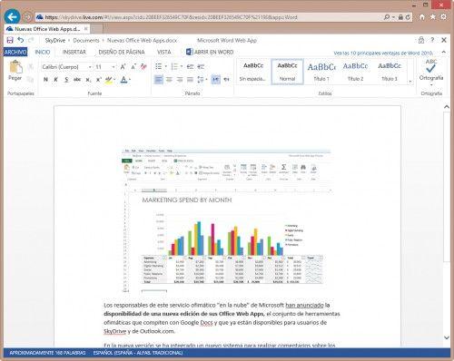 Microsoft lanza una actualización de Office Web Apps en SkyDrive