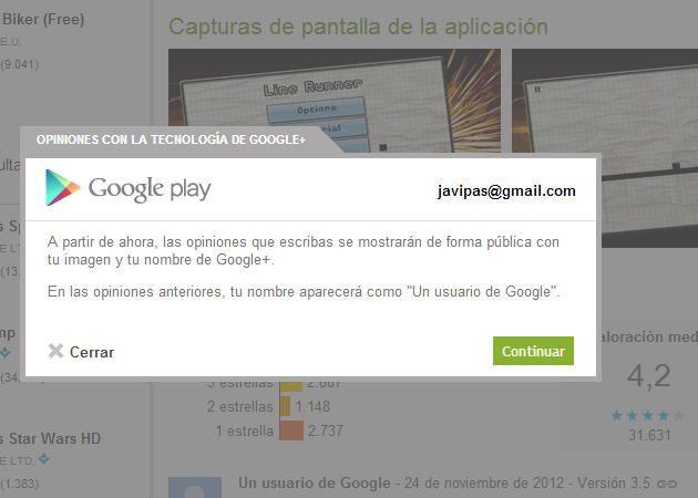 Los perfiles de Google+ se integran en las opiniones de Google Play 29
