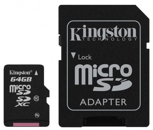 Tarjeta microSDXC Kingston clase 10 de 64 Gbytes 30