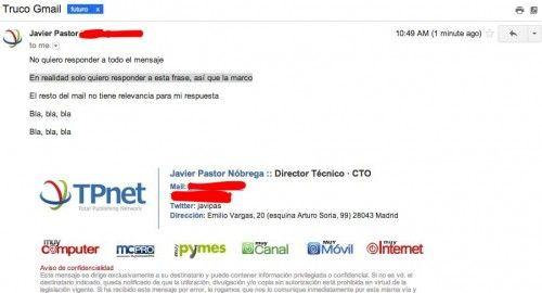 Truco Gmail del mes: responde a un fragmento de un mensaje 30