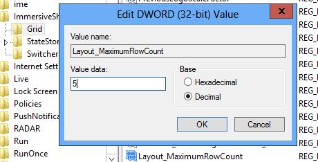 Cambia el número de filas de baldosas en Windows 8 32