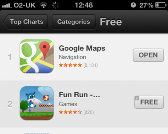 Google Maps iOS ya es la número uno del Apple Store