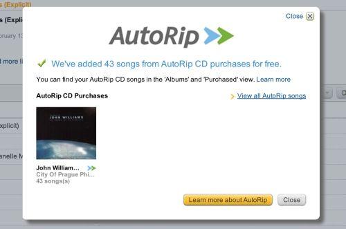 Amazon AutoRip, si compraste un CD recibe gratis las versiones MP3