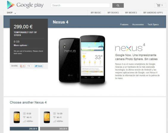 El Nexus 4 vuelve a estar disponible… unos minutos