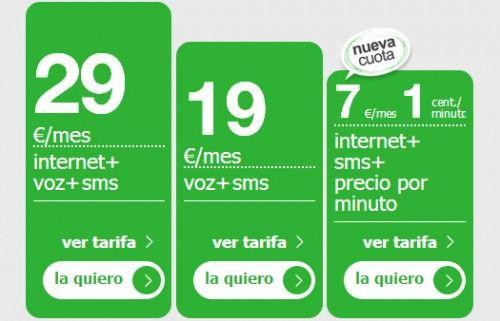 Tarifa básica Amena: SMS + Internet y llamadas a 0,01€/minuto por 7€/mes 30