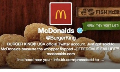Hackean la cuenta Twitter de Burger King, pasó a ser McDonald's