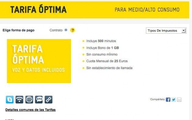 Másmóvil mejora la tarifa Óptima: 500 minutos y 1 Gbyte - 25€ 31