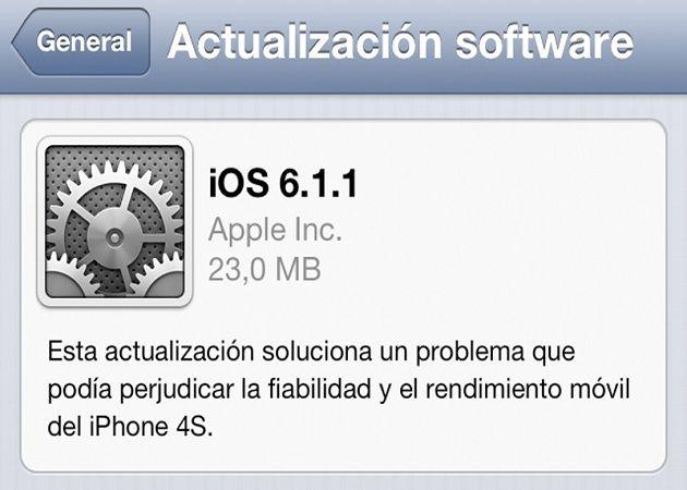 actualizacion iOS 6 1 1 iOS: parche 6.1.1 da problemas en los iPhone 4S