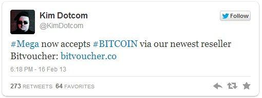 Twitter Dotcom anunciando bitcoin