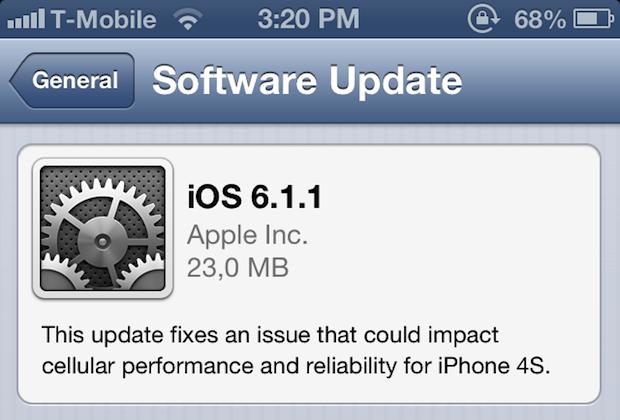 Apple lanza iOS 6.1.1 para iPhone 4S, soluciona problemas 3G y de batería