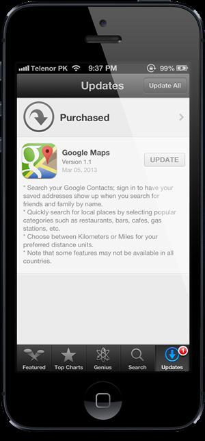 Google Maps 1.1 para iOS