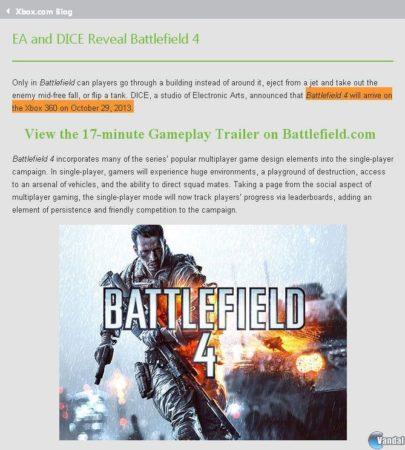Battlefield 4 verá la luz el próximo 29 de octubre