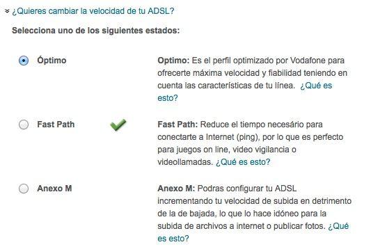 Perfiles Vodafone ADSL, FastPath, Anexo M, Optimo