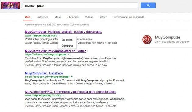 Google elimina las Instant Preview y añade las opciones Caché y Compartir en su buscador
